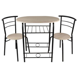 Contemporary 3-Piece Dining Set, Table With 2 Chairs, Wood & Metal Legs, Black