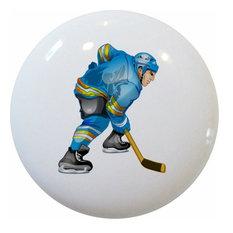 Blue Hockey Player Ceramic Knob
