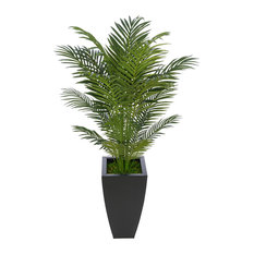 Artificial 4.5' Areca Palm, Black Tapered Square Zinc