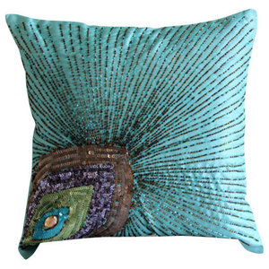 Blue Art Silk 55x55 Peacock Feather Cushion Covers, Peacock Grace