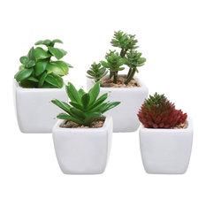 MyGift - Small Artificial Succulent Plants in White Ceramic Cube Planter Pots, Set of 4 - Artificial Plants and Trees