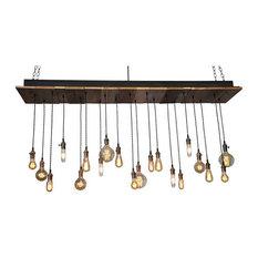 Reclaimed Wood Rustic Chandelier, 20 Pendants, Antique Brass, Suspended Mount