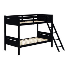 Twin Over Twin Bunk Bed Rubberwood Slat Support And Side Ladder Black