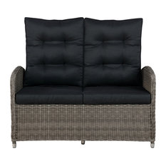 Monaco All-Weather Wicker / Rattan Outdoor Two-Seat Reclining Bench in Gray