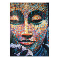 "Blue Buddha Oil Painting, 36""x48"" Vertical"