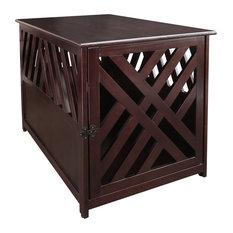Modern Lattice Wooden Pet Crate End Table, Espresso