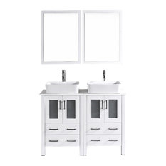 "48"" Bosconi Double Vanity With 2 24"" Mirrors, White"