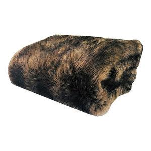 Plutus Faux Mountain Coyote Handmade Throw Blanket, 80 X 110 Twin, Single Sided