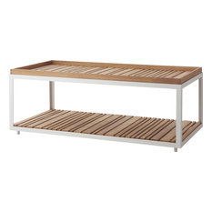 Level Coffee Table - White, Aluminum, Long