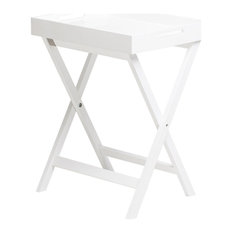"""Dion 24.5"""" Rectangular Butler Tray Table With Folding Legs, White"""