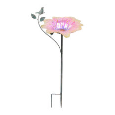 Pink Metallic Flower Shaped Glass Bird Feeder Stake