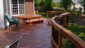 Custom curved deck with herringbone style decking