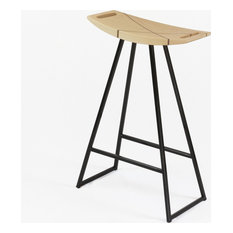 Robert Inlay Counter Stool, Black, Glossy Powder-Coat, Maple