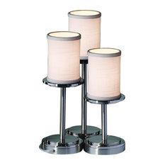 Justice Design Textile Dakota 3-Light Table Lamp, Cylinder With Flat Rim, White