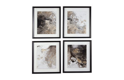Hallwood Contemporary Abstract Multi-Color Framed Wall Art, 4-Piece Set