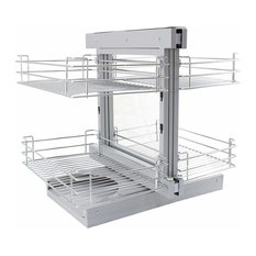 Corner Kitchen Pull Out Baskets, Stainless Steel, 4 Storage Drawers, Left