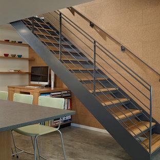 Diseño de escalera recta, vintage, sin contrahuella