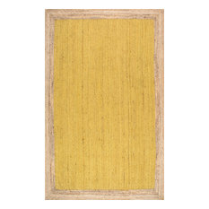Jute Simple Border Area Rug, Yellow, 6'x9'