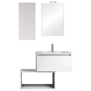 Ibiza Bathroom Vanity Unit Set, White, 70 cm
