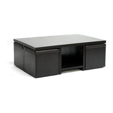 Prescott Modern Table And Stool Set With Hidden Storage Dark Brown