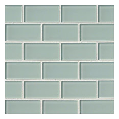 "12""x12"" Arctic Ice Glass Subway Tile, Set of 10"