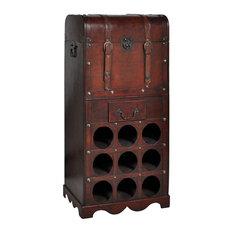 VidaXL Wooden Wine Rack for 9 Bottles, Storage Trunk With Drawer