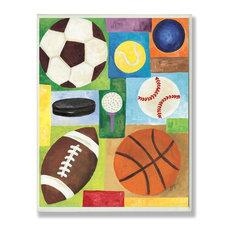 Sport Balls Rect Wall Plaque