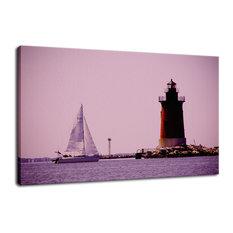 """Sailing in the Bay"" Coastal Landscape Photo Fine Art Canvas Wall Art Print, 24"""
