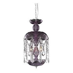 3-Light Purple Pendant Clear Crystal