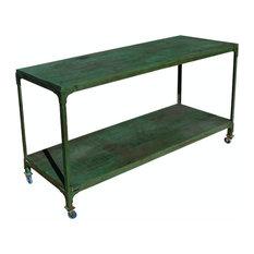 Appalachian Rustic Industrial Wood & Metal Rolling Table