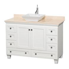 "Acclaim White Vanity, 48"", Pyra White Porcelain, Ivory Marble"