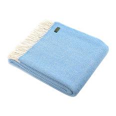Sea Blue Fishbone Design 100% Pure Wool Blanket