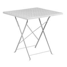 """28"""" Folding Patio Table, White"""
