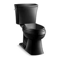 Kohler Kelston 2-Piece Elongated 1.28 GPF Toilet With Left-Hand Lever, Black