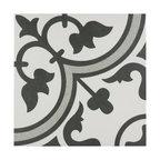 "9.75""x9.75"" Art Porcelain Floor/Wall Tiles, Set of 16, Gray"