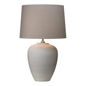 Dover Table Lamp, White and Grey
