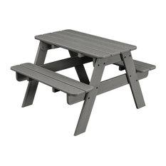 Polywood Kids Picnic Table, Slate Gray