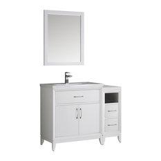 "Fresca Cambridge 42"" White Traditional Bathroom Vanity With Mirror"