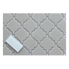 """Country Cottage Light Taupe Arabesque Glass Mosaic Tile, 12""""x12"""""""