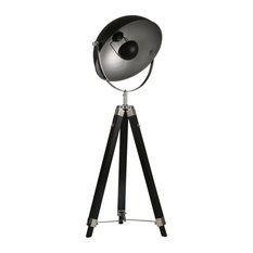 "Wood 65"" Tripod Spot Light Floor Lamp, Black"