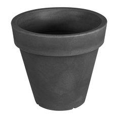 Pegasus Round Polyethylene Indoor/Outdoor Plant Pot, Anthracite Black