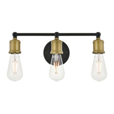 Brass And Black Finish 3-Light Wall Sconce