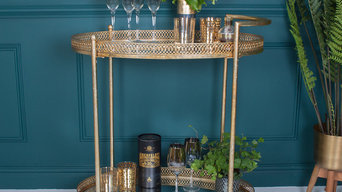 Antique Gold Metal Bar Cart