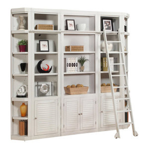 Parker House, Boca 5-Piece Library Bookcase Wall Unit, Cottage White Finish