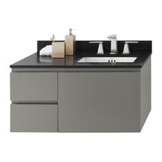 "Ronbow 36"" Vanessa Solid Wood Wall Bathroom Vanity Cabinet, Slate Gray, Right"