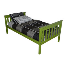Twin Mission Style Pine Bed, Unfinished or Painted, Lime Green