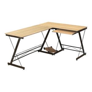 Modern Sleek Desk, MDF, Wood Effect and Metal Frame, Reversible Design, Yellow
