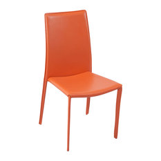 Modern Noah Dining Chair Orange Leatherette Upholstered