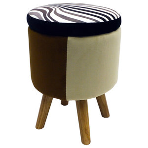 Wilde Contemporary Retro Round Padded Stool, Natural/Black/Brown/Beige