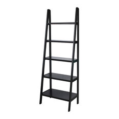 Casual Home 5 Shelf Ladder Bookcase Espresso Display And Wall Shelves